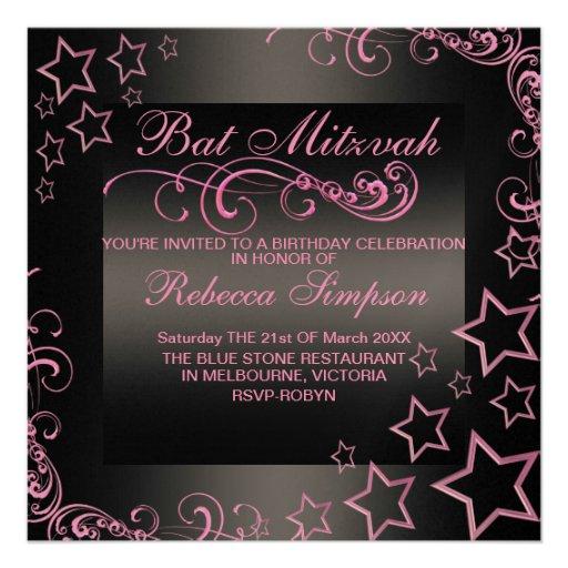 Étoile de bat mitzvah et invitation roses/noirs de