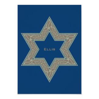 Étoile de David d'Ellis d'invitation de Mitzvah de Carton D'invitation 12,7 Cm X 17,78 Cm