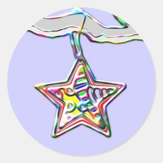 Étoile de Noël sur la branche glaciale Sticker Rond