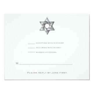Étoile juive RSVP d'invitation de Mitzvah de barre Carton D'invitation 10,79 Cm X 13,97 Cm