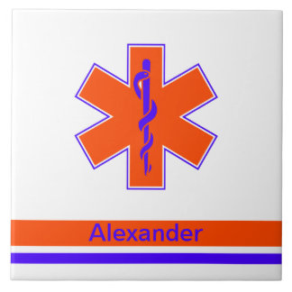 Étoile orange et bleue d'ambulance faite sur carreau