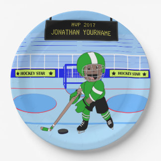 Étoile personnalisée mignonne de hockey sur glace assiettes en papier