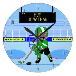 Étoile personnalisée mignonne de hockey sur glace grande horloge ronde