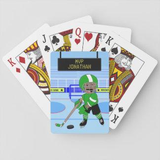 Étoile personnalisée mignonne de hockey sur glace jeu de cartes