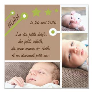 Etoile verte et marron ⎮ Faire-part de naissance