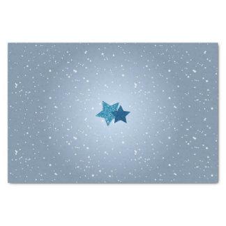 Étoiles bleues argentées sur le tissu bleu de papier mousseline