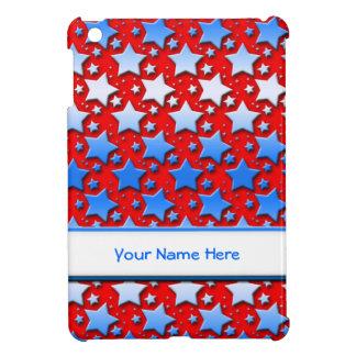 Étoiles bleues de blanc sur le rouge étuis iPad mini