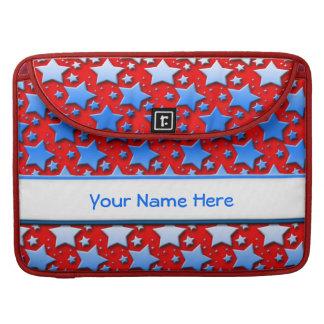 Étoiles bleues de blanc sur le rouge housse pour macbook