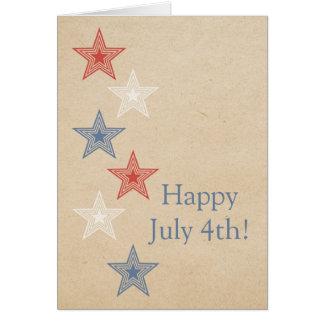 Étoiles carte de voeux patriotique du 4 juillet