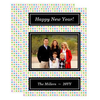Étoiles colorées - photo de bonne année carton d'invitation  12,7 cm x 17,78 cm