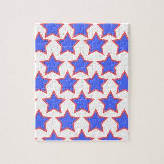 Étoiles de bleu et de rouge puzzle