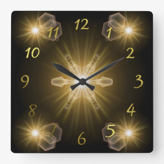 étoiles de fête horloge carrée