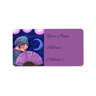 Étoiles de lune de fan de fille d'aileron d'années étiquette d'adresse