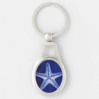 étoiles de mer bleues nautiques rustiques de plage porte-clés