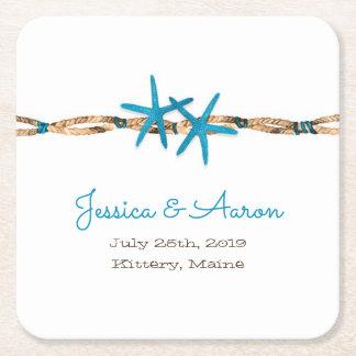 Étoiles de mer d'Aqua et mariage de corde Dessous-de-verre Carré En Papier