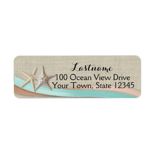 Étoiles de mer et Aqua et pêche de ruban Étiquette D'adresse Retour