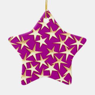 Étoiles d'or sur le pourpre d'améthyste ornement étoile en céramique