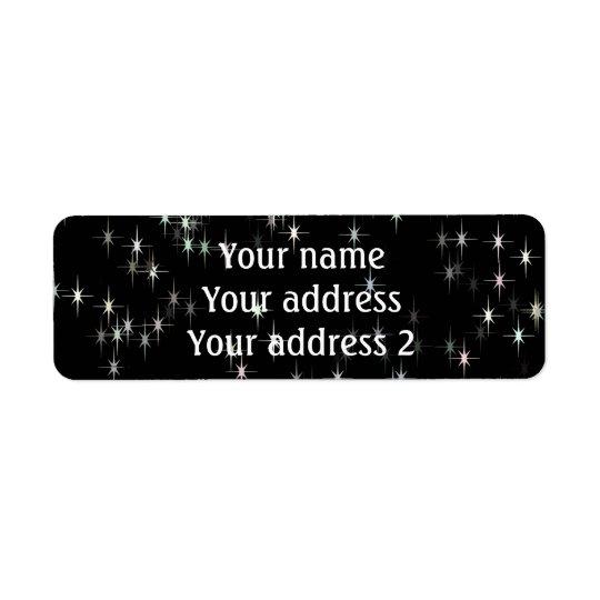 Étoiles multicolores de pastel/arrière - plan noir étiquettes d'adresse retour