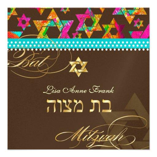 Étoiles psychédéliques de PixDezines, bat mitzvah Faire-parts