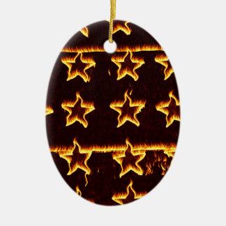 Étoiles sur le feu ornement ovale en céramique