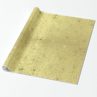 Étoiles texturisées d'or de Noël de vacances Papier Cadeau