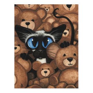 Étreinte d'ours de nounours de chat siamois par carte postale