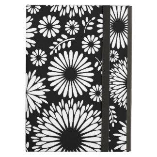Étui iPad Air Boho fleurit le motif floral de vecteur noir et