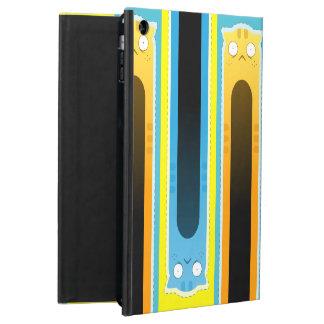 Étui iPad Air Caisse bleue d'air d'iPad de motif rayé de chat de