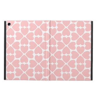 Étui iPad Air Coeurs de trèfle de feuille du rose quatre