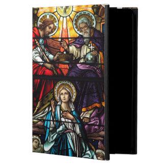 Étui iPad Air Couronnement de verre souillé béni de Vierge Marie