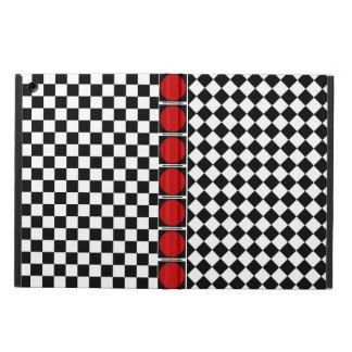 Étui iPad Air Demi de bande blanche noire élégante de rouge de