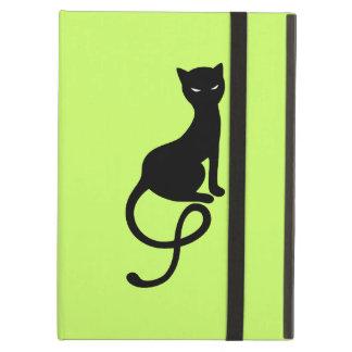 Étui iPad Air Folio mauvais aimable vert de chat noir