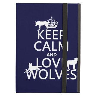 Étui iPad Air Gardez le calme et aimez les loups (toute couleur