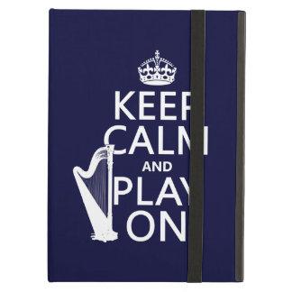 Étui iPad Air Gardez le calme et le jeu sur (harpe) (toute