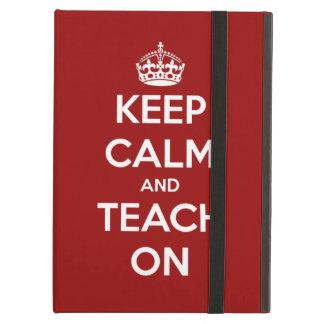 Étui iPad Air Gardez le calme et l'enseignez sur le rouge