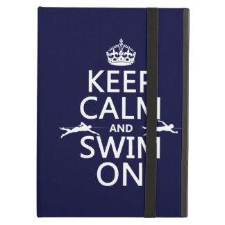Étui iPad Air Gardez le calme et nagez sur (dans toute couleur)