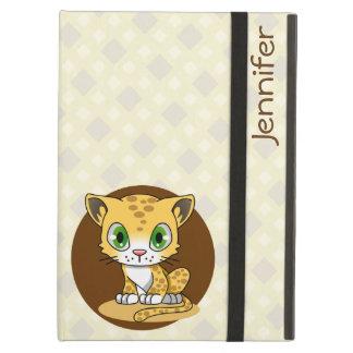Étui iPad Air Le nom mignon de bande dessinée de léopard de chat