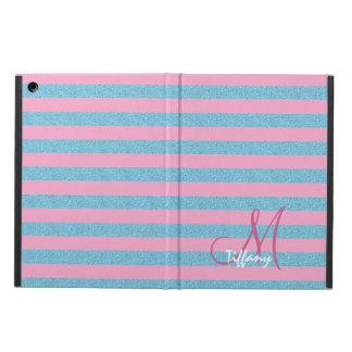 Étui iPad Air Monogramme de rayures de scintillement d'aqua de