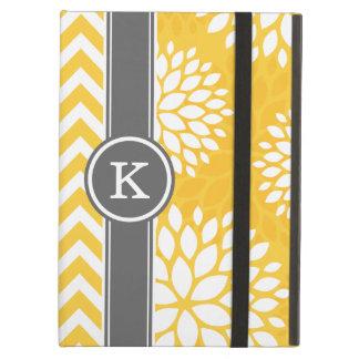 Étui iPad Air Monogramme jaune et gris Chevron et floral