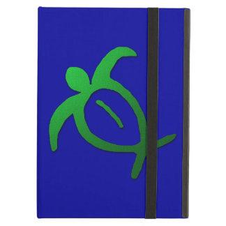 Étui iPad Air Pétroglyphe hawaïenne de Honu sur le bleu