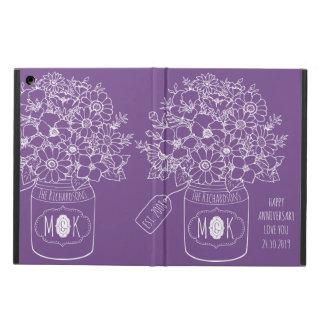 Étui iPad Air Pot de maçon de bouquet de fleurs sauvages de