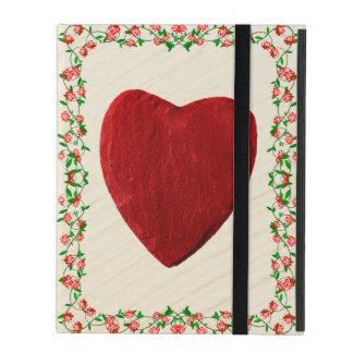Étui iPad Cadre de rose coeur