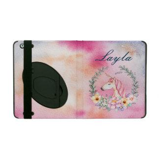 Étui iPad Cas floral de licorne d'aquarelle avec le nom fait