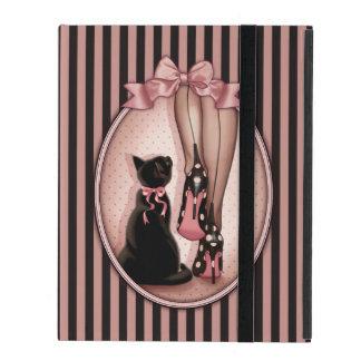 Étui iPad Jeune femme élégante et chat noir