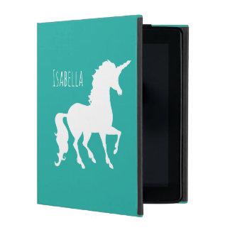 Étui iPad Licorne Girly personnalisée de vert de turquoise