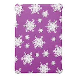Étui iPad Mini Blanc sur la conception pourpre de flocon de neige