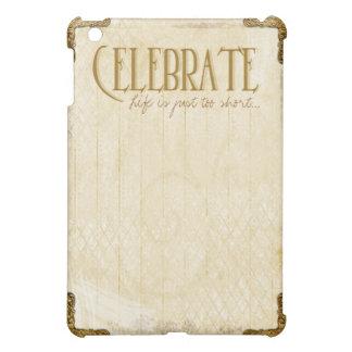Étui iPad Mini Célébrez : Cas d'iPad de cru et d'or mini