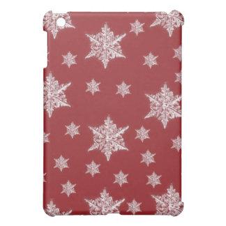 Étui iPad Mini Conception rouge et blanche de flocon de neige