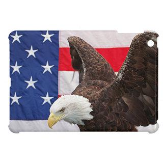Étui iPad Mini Eagle chauve avec le drapeau américain