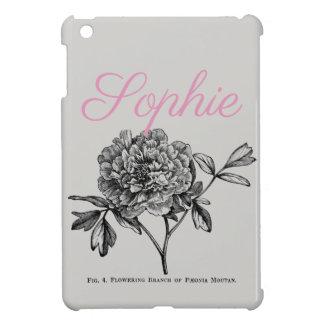 Étui iPad Mini Fleur vintage/victorienne Personnalised de pivoine